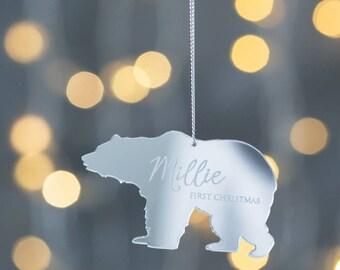 Personalised Mirrored Baby Polar Bear Decoration