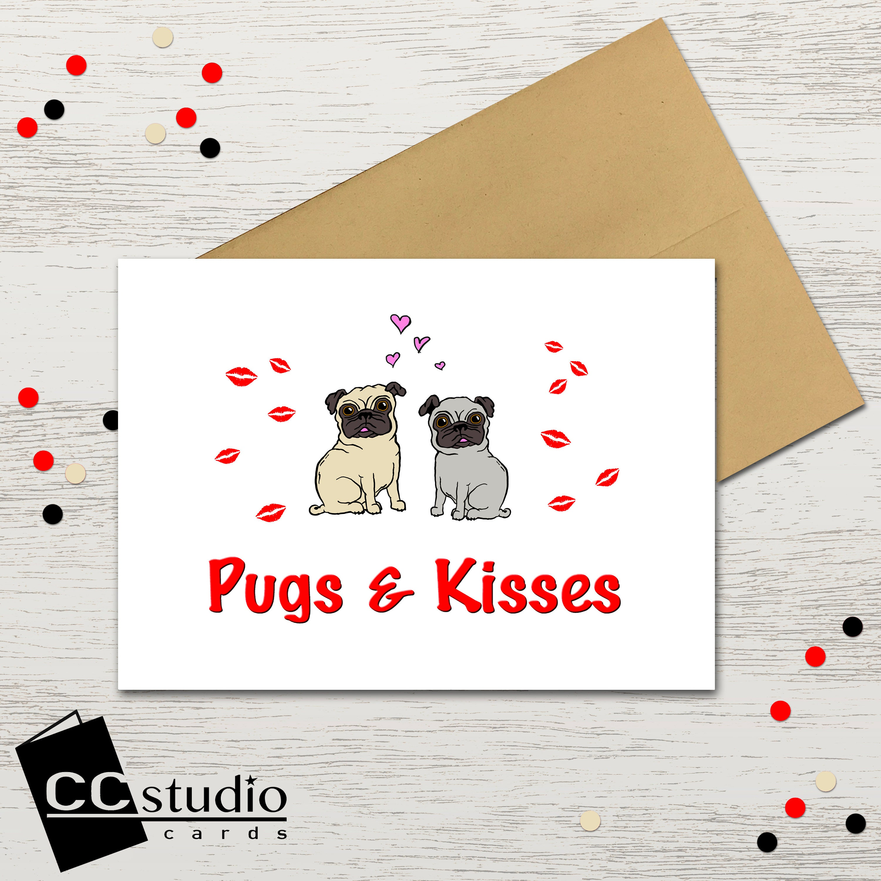 Pugs And Kisses Valentines Card Bff Cards Pug Card Dog Lover
