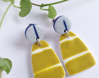 Earrings Polymer clay dangle - geometric dangle earrings - long earrings - silver studs - original designer earrings - Green long earrings -