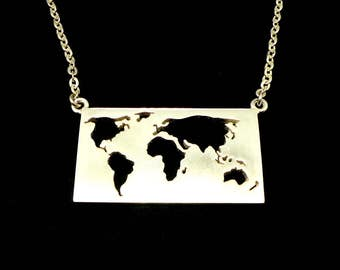 Worldmap necklace etsy silver world map necklace choker travel necklace gift for travellers travel gift gumiabroncs Gallery