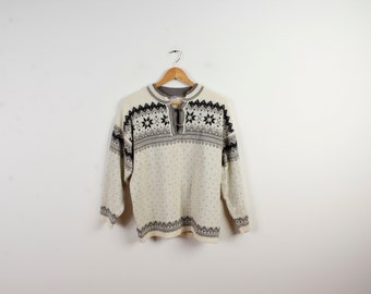 Vintage Nordic Men Sweater Folksy Wool Sweater Button Sweater Knitted Ski Pullover Norwegian Sweater Folk Knitted Sweater