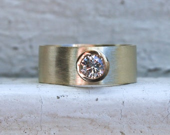 Wide Vintage Bezel Diamond Engagement Ring in 14K Yellow Gold - 0.40ct.