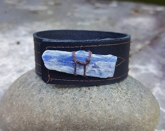 Small Sized Brown Leather Cuff-Kyanite Blue Crystal-Upcycled Leather-Small Unisex 6.5, 7 in wrist size, Spring Fashion, Summer Jewelry