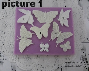 Silicone molds in the form of butterflies of different sizes. Molds for polymer clays and plastics.