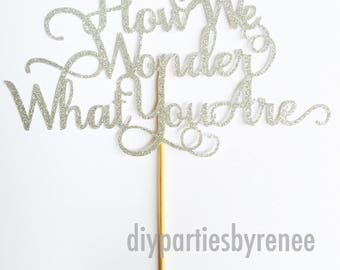 How We Wonder What You Are Cake Topper - Twinkle Twinkle Little Star Cake Topper - Twinkle Cake Topper - Star Theme cake topper