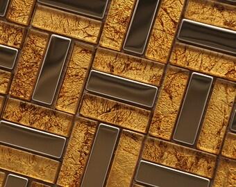 Metal and Glass Tile Stainless Steel Backsplash Wall Tile Gold Crystal Mosaic Tiles Bathroom Shower Wall Decor