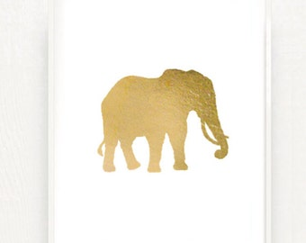 Elephant in Metallic Gold Foil - 8x10 Hand Gilded Baby Elephant Silhouette Print - Decor for Kids Room Nursery Luxe Jungle