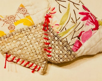 Quilted Pocket Warmers up cycled from vintage & antique quilts. Reuse these by popping them back in the microwave! Give the gift of warmth!