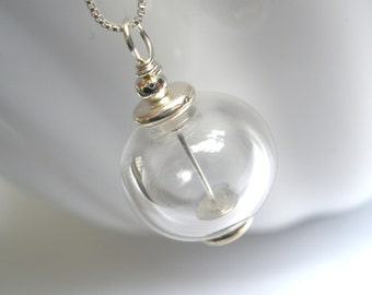 Hand Blown Glass Necklace, Crystal Necklace, Clear Necklace, Hollow, Lampwork Pendant, Transparent, White, Clear, Sterling Silver Necklace
