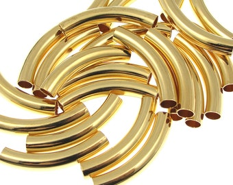 24 Noodle Beads 30mm x 5mm with 4mm ID - Gold Plated Curved Tube Beads Gold Tube Beads Gold Noodles (T5)