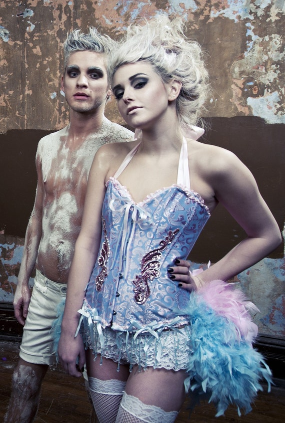 ALICE IN WONDERLAND Burlesque Costume Corset Blue Pink Sexy Steampunk Circus feather dress