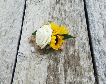 Sunflower and rose wrist corsage, wedding corsage, spring coraage, rustic sunflower wrist corsage, wrist corsage, rose and sunflower