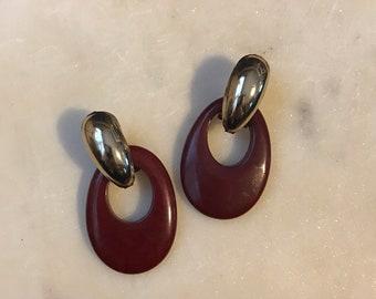 Vintage Bordeaux Dangle Doorknocker Earrinfs Silvertone Hardware