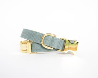 Washed Linen Dog Collar - Slate Blue