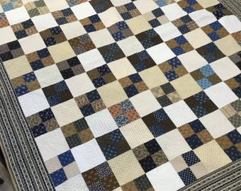 Reproduction Quilt For Sale Handmade Quilts Twin Bedding Civil War Blue Cream Large Wedding Gift For Husband Wife Farmhouse Decor Geometric