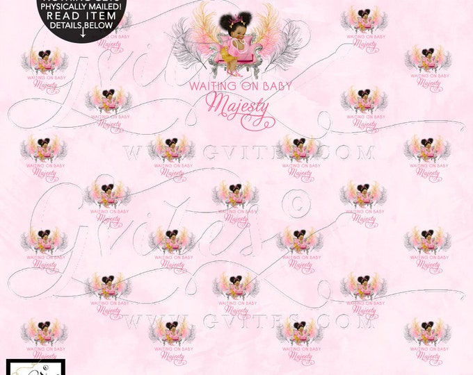 Step & Repeat Pink and Gold Baby Shower Backdrop Banner, Photo Booth, African American Princess Decor, Digital File. DESIGN FEES ONLY!
