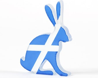 Scottish Saltire Hare Glass Sculpture Screen Printed Enamel
