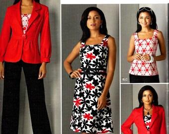 2000s Dress Pattern Jacket Top Pants Simplicity Sewing Uncut Women's Misses Size 8 - 16 Bust 31.5 - 38 Inches