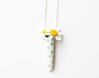 Ceramic green and white polka dot fresh flower vase necklace