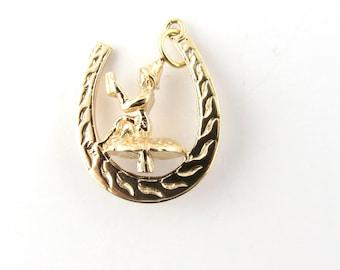 Vintage 9 Karat Yellow Gold Horseshoe and Leprechaun Charm #3473