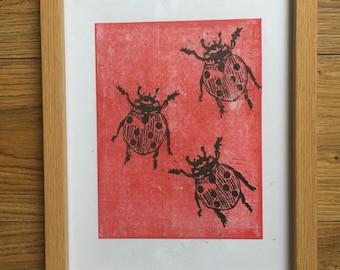 Lady Bird A4 Lino Cut Print