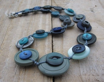 Button Necklace - Ocean Colours and Stainless Steel - Blue, Green Turquoise