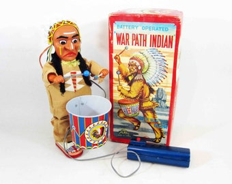 Vintage Battery Operated War Path Indian Tin Toy with Box by Alps. Made in Japan. Working Condition. Circa 1960's.