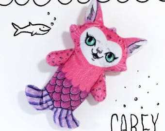 Carey the Mermaid Cat - Illustrated cat doll  - Soft Minky plush stuffed animal purrmaid