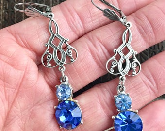 The Last Dance, vintage assemblage earrings, art deco, blue rhinestones, dangle 2 1/2""