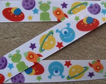 "3 yards Space Ship Martians Aliens Outer Space Grosgrain Ribbon 7/8"" Kids Cartoon Hair Bows Ribbons"