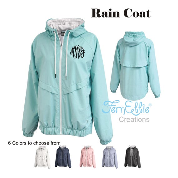 Monogrammed Rain Jacket, Personalized Women's Rain Coat, Rain Poncho