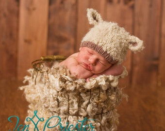 Lamb baby hat hand knit curly hat newborn photo prop cream ecru beige brown taupe boy girl unigender animal beanie with ears neutral natural
