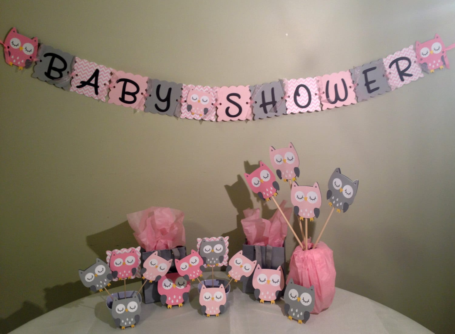 Owl baby shower decorations package owl baby shower pink - Decoration baby shower girl ...