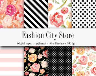 Peony Digital Paper - Watercolor Peonies - Stripes - Dots - 10 Jpeg Files at 300 dpi - Instant Download - 8.5 x 11 inches