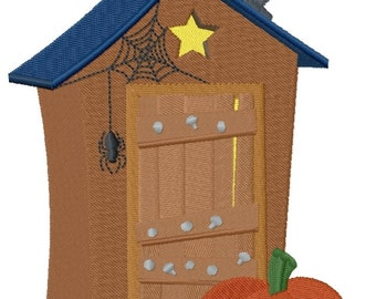 Halloween Outhouse for Ghouls (4.75 x 6.84) Iron-on Patch - Iron on Patch - Embroidered Patch - MADE TO ORDER