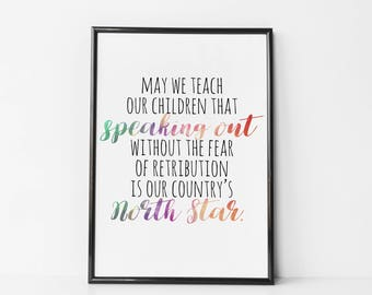 Laura Dern Quote - May We Teach Our Children, Speaking Out, North Star - 2018 Golden Globes Speech Print - Quote For Girls Wall Art