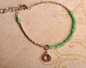 Chakra Bracelet, Heart Chakra, Green Gemstone Bracelet Yoga Bracelet, Hill Tribe Silver Bracelet, Pink Quartz Bracelet