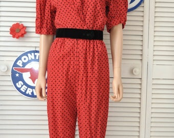 Vintage 80s Womens Red & Black Romper Jumpsuit Totally Rad Valley Girl New Wave Elastic Waist Theater Costume Bee Darlin Small-Medium