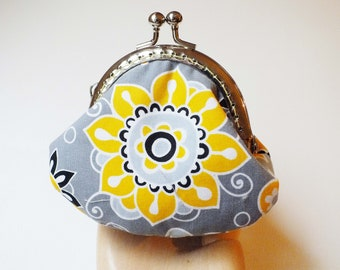 Yellow and Gray Floral Kiss Lock Change Purse