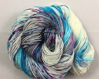hand dyed sock yarn, Speckle City HIGGINS, fingering weight yarn, superwash merino wool and nylon
