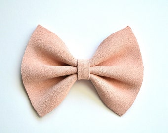 SUEDE Pastel Ballet Pink Leather Bow Beautiful Adorable Clip for Newborn Baby Little Girl Child Adult Photo Prop Easter Clip