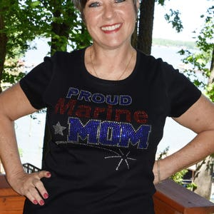 United States Marines Proud Marine Mom  rhinestone  bling   shirt,  all sizes XS, S, M, L, XL, XXL, 1X, 2X, 3X, 4X, 5X