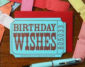 letterpress birthday wishes ticket happy birthday greeting card blue red raffle carnival ticket