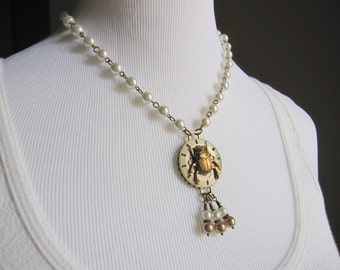 Beetle Necklace OOAK Scarab Pearl Necklace Steampunk Necklace Insect Victorian Vintage Watch Face Edwardian Cosplay Necklace Gothic Jewelry