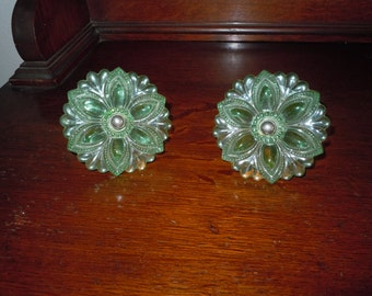 Vintage Pair Green Glass Flower Petal Tie Backs Hardware