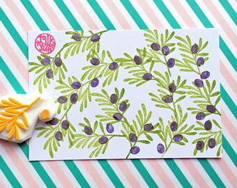 olive branch rubber stamp | leaf | diy wedding birthday card making | stationery | gift wrapping | hand carved by talktothesun | set of 2