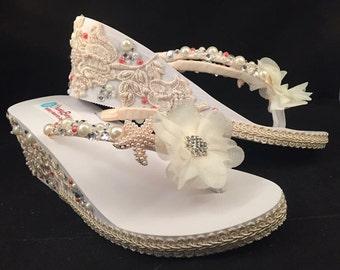 Maryann Bridal Flip Flops, Wedge Flip Flops Custom Wedge Flip Flops Platform Flip Flops Bridal Wedge Ivory Starfish Sandals Wedding Flip Flo