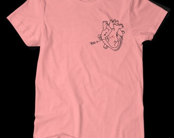 You are Here Heart Pocket TShirt Pink