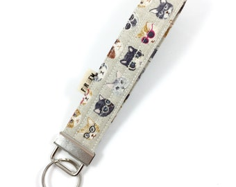 Cats With Glasses Key Fob For Mew Cat Lover Key Chain, Gift For Cat Lover