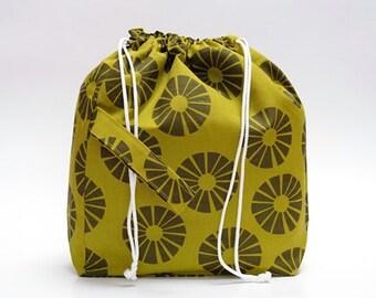LARGE Drawstring Knitting Project Bag. Special KnitterBag design. WIP bag Spindle Bag Crochet Knitter Project Bag